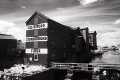 Allinsons Mill (Saturated Imagery) Tags: blackandwhite mill film 35mm ir iso400 infrared riveraire weir kodakhie castleford prakticatl5b