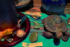 tabletop (LauraSorrells) Tags: stilllife art home june ceramic candle turtle fortunecookie turquoise shell crescent altar fabric clay gift summertime tabletop wordplay thecove iphone 2013 thriftstoreplunder