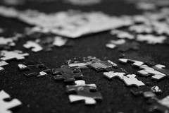 Putting It All Together... (emily_hope) Tags: blackandwhite pieces shapes puzzle patience determination jigsawpuzzle project365 cy365