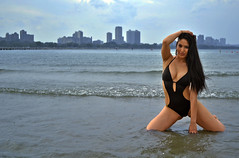 Jasmine (tacosnachosburritos) Tags: city light sea summer portrait urban lake chicago hot sexy beach water beautiful beauty fashion skyline coast model pretty shoot meetup michigan gorgeous great lakes christine bikini parasol swimsuit beacon jewel thelook