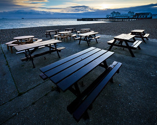Benches and pier at dusk