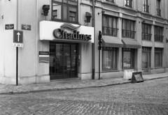Quai du Bois à Brûler (Spotmatix) Tags: street camera brussels urban film monochrome landscape effects belgium streetshots places apx100 agfa