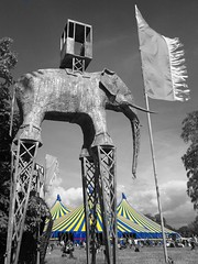 The Electric Arena. (mcginley2012) Tags: cameraphone blue red sculpture elephant colour art yellow festival marquee nokia blackwhite stripes crowd tent recycle n8 selectivecolor electricpicnic colourselection gimp2 ep2013