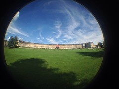 Royal Crescent from the Park (CoasterMadMatt) Tags: park uk greatbritain autumn england fish southwest west building eye english architecture project lens photography photo october bath day photos unitedkingdom britain south royal somerset structure crescent fisheye attachment photoaday gb georgian british 365 fisheyelens iphone royalcrescent theroyalcrescent 2013 365project coastermadmatt uploaded:by=flickrmobile flickriosapp:filter=nofilter pad2013365