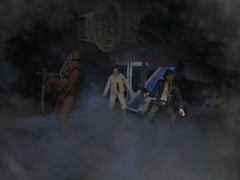 """This ground sure feels strange. It doesn't feel like rock at all."" (_silencer_) Tags: starwars chewbacca hansolo milleniumfalcon theempirestrikesback leiaorgana tesb spaceslug mynocks"