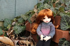 Among the Ivy (AluminumDryad) Tags: outdoors ginger sweater knitting doll bricks ivy bjd resin fairyland ante balljointeddoll tinybjd littlefee