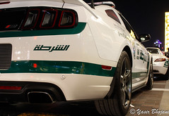 Rear of Dubai Police Mustang & SLS (Yasir_Bhojani) Tags: mercedes dubai rear police law mustang sls amg combo roush enforcer