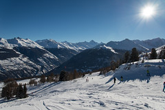 The ski area 4 Valles Switzerland (sgeir Eggertsson) Tags: blue trees winter sky sun white mountain snow mountains cold sport schweiz switzerland skiing suisse skiresort matterhorn shining wallis valais skiarea skiers thyon 4valles lescollons