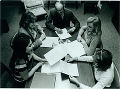 Library Director Meeting with Students, circa 1980 (lizkentleon) Tags: blackandwhite students interior library 80s librarystaff sweetbriarcollege