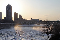 Mississippi River at Dusk (MSPdude) Tags: bridge minnesota canon river mississippi dusk minneapolis falls condos carlyle stanthony t2i
