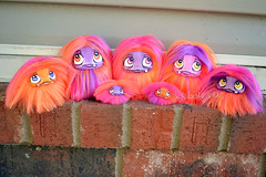 Neon orange, pink, and purple Cuddle (Scribble Dolls) Tags: cute art monster fur toy happy miniature stuffed furry doll sweet handmade ooak critter small fluffy mini fluff plush softie fabric tiny stuffedanimal handpainted plushie faux handsewn cloth pocket creature sewn scribbledolls