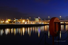 BelfastAtNight1 (CharlesM-2) Tags: longexposure ireland light sunset sky water night clouds 35mm reflections river nikon belfast northernireland northcoast 2015 riverlagan charlesm clarendondock d7100 shadowpm2