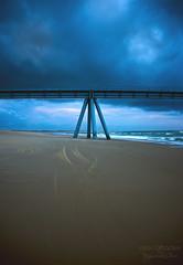 Wharf & storm ((Virginie Le Carré)) Tags: ocean shadow cloud brown storm catchycolors landscape sand tracks traces sable ombre atlantic wharf nuage paysage orage atlantique océan lasalie