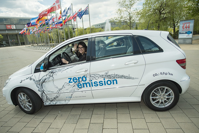 Attendee test drives a fuel cell powered car