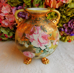 Early Nippon Porcelain Hand Painted Vase ~ Roses ~ Gold Gilt ~ Beading (Donna's Collectables) Tags: roses gold early hand painted vase nippon porcelain ~ beading gilt