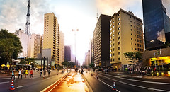 So Paulo - Avenida Paulista - Depois da chuva (Edinei Matos) Tags: street city trip travel light sunset shadow red vacation sky people urban panorama holiday cold color building tower rain yellow outside high colorful downtown afternoon tour looking outdoor sopaulo sunday sightseeing culture cellphone samsung rainy tall wandering paulistaavenue greatphotographers clicksp