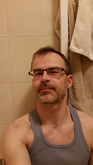 Bathroom Selfie (talien73) Tags: portrait man male face bathroom towel selfie slef