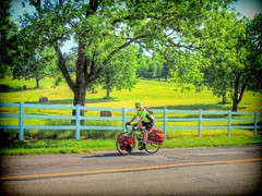 Keep Pushing On (clarkcg photography) Tags: bike bicycle bicycleclub oklahoma northeast spaniardcreek spring elmgroveroad muskogee 64highway whitefence railfence plankfence posts fencedfriday