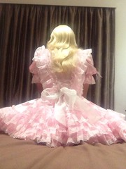 Pretty rufflebutt (shellyanatine) Tags: pink dress crossdressing sissy maid feminization petticoated