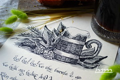 Drinking Song (Iceman_ic400) Tags: stilllife beer bread ale meat pork lotr lordoftherings calligraphy tolkien fellowship middleearth malt thefellowshipofthering johnronaldreueltolkien drinkingsong jrrt mechkivskiy tolkiencalligraphy