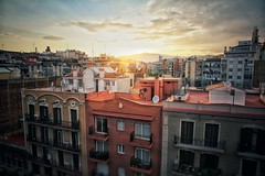 Barcelona - Rooftops (Dave Noyle) Tags: barcelona city roof sun set spring spain cityscape scape tops 2016 eixample