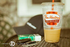 Summer Essentials (JohnBorsaPhoto) Tags: summer ice cup coffee car keys table outside outdoors 50mm java outdoor cream sugar patio deck newport porch daytime iced cigarettes timhortons 80daysofsummer