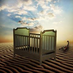 The empty crib (jaci XIII) Tags: cloud sand desert areia scorpion crib cama nuvem berço deserto bedding escorpião