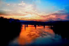 And color flows into the world....  Psalms 19:1 (Roland 22) Tags: silhouette shadow light coolidgepark northshore flickr clouds horizon sky yellow orange blue reflection radiant glow sunset evening tennesseeriver huntermuseum chattanoogatennessee fourbridges bluffview