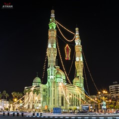 Islamic Mosque l   (Ayman Abu Elhussin) Tags: street new city wallpaper art tourism architecture night wonderful photography lights town photo big flickr ray cityscape god islam prayer decoration egypt mosque portsaid arab huge ramadan  alla adornment  ayman      2016  masjed    misr            islamicmosque          portfouad       aymanabuelhussin nikon7100 ramadan1437