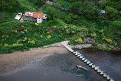 Stepping stones to.........- Staithes, N Yorkshire (Bon Espoir Photography) Tags: green river boat yorkshire shed steps vegetation steppingstones northyorkshire rivercrossing staithes rustyshed roxbybeck staithesbeck nikond750