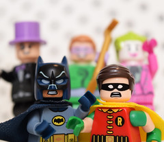 Holy Villain Hijinks, Batman! (Andrew Cookston) Tags: show stilllife macro classic robin comics photography dc tv lego 1966 66 batman 1960s dccomics adamwest thejoker thepenguin theriddler burtward 76052 andrewcookston