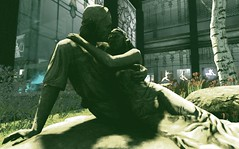 Stoned Embrace (Carla Putnam) Tags: shadow art statue rock stone couple gallery romance romantic embrace directedlight