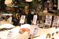"""IMG_8194   """"What, me?  Toss a fish?"""" (Glenn Gilbert) Tags: pikeplace fish market seattle washington indoor urban public commerce"""