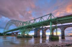 Two Bridges (Jeffpmcdonald) Tags: runcornwidnesbridge runcornrailwaybridge silverjubileebridge ethelfledabridge brit britannianbridge runcorn widnes rivermersey manchester ship canal