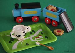 Moorning Train (Ebony Dragon) Tags: flower train toy cow miniature milk cookie rement