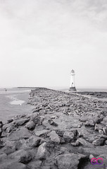 New Brighton Lighthouse (AC Photography 828) Tags: 35mmfilm film ilford illfordxp2400 beach sea seaside nikon nikonf80 lighthouse rocks newbrighton westcoast england coast water shore ocean blackandwhite landscape outdoor