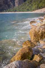 Seashore rocks (aleksey_kondratiev) Tags: turkey fethiye oludeniz mediterranean sea water blue wave waves seashore rocks sky mountain