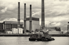 Industry--Mystic River (PAJ880) Tags: bw plant boston river ma power former tug moran cynthia barge mystic