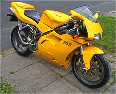 First Impressions.... (The Landscape Motorcyclist) Tags: ducati 748 desmoquattro corse yellow thenuts porn brembo sexonwheels showa ohlins