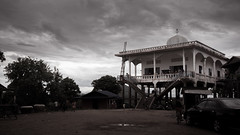 Masjid Kampong Chhnang (freebird) Tags: sky rural dark religious countryside cambodia khmer village cloudy muslim islam religion wideangle mosque hariraya cham puasa kampuchea eidmubarak kampongchhnang