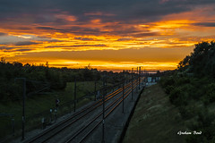 Sunset Express (G Bond) Tags: train sunset maidstone tracks glow evening eurostar pov clouds sky