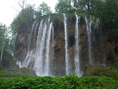Waterfall in National Park Plitvice Lakes (emeraldinne) Tags: brown white green water leaves waterfall nationalpark drops europe lakes croatia unesco plitvicelakes