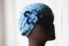 Blue Flower Beret (Crochet Genie) Tags: blue flower hat spring knitting soft silk knit knitted beret
