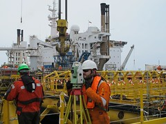 Surveying on a new jacket (thulobaba) Tags: leica construction offshore platform engineering surveys jacket northsea 1201 surveyor 1101 surveying totalstation fugro eldfisk tcra