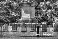 Cemetery (lindaelizabeth) Tags: old family bw cemetery amsterdam canon fence zoom headstones gravestones hdr ironfence familyplot oldcemetery amsterdamny blackfence