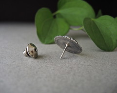 Sunflower pin, sterling, fine silver (betsy.bensen) Tags: pin brooch oxidized sterlingsilver finesilver etsymetal baw5229