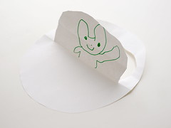 UFO_P1100036 (strange_hair) Tags: white rabbit art cat paper child background craft ufo daylght
