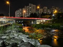 River of Gold (EmreKanik) Tags: park city bridge light green water lamp night buildings river dark gold asia stream cityscape darkness path korea lighttrails southkorea bundang slowexposure seongnam
