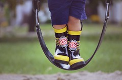 Time for wellies (Evangelina M) Tags: park swing september wellies rainboots
