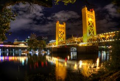 Golden towers (PeterThoeny) Tags: reflection night towerbridge gold raw fav50 sacramento hdr photomatix 1xp nex6 thephotographyblog pwpartlycloudy selp650